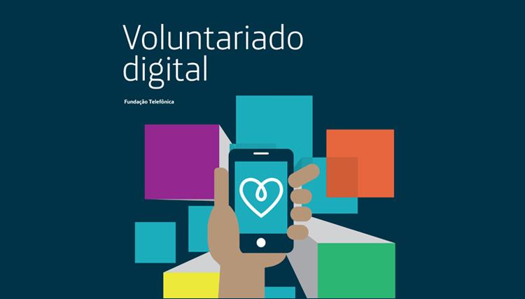 Imagem mostra capa do livro Voluntariado Digital: uma mão segurando um celular onde há um coração