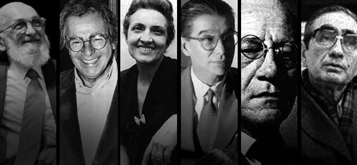 Composição de fotos de 6 grandes nomes da Educação Brasileira