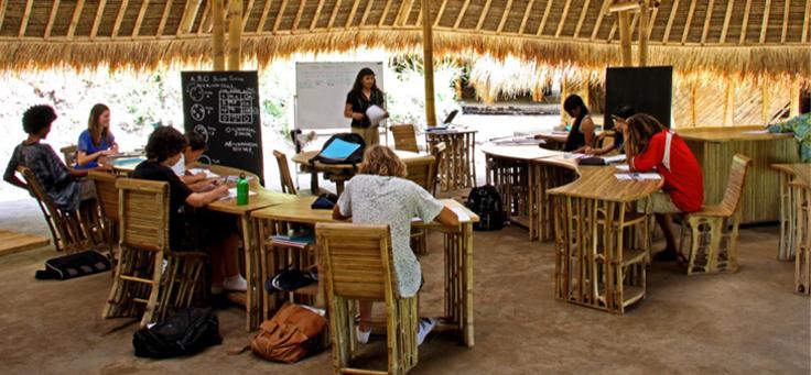 Imagem mostra grupo de alunos e professora estudando num ambiente com cadeiras rústicas e palha.