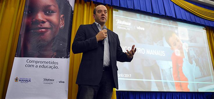 Americo Mattar, presidente da Fundação Telefônica Vivo, no lançamento do Aula Digital em Manaus