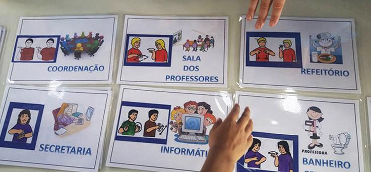 Cartaz traduz o nome de dependências do colégio para a linguagem de Libras
