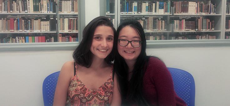 Juliana Inácio e Érica Ito, estudantes de pedagogia