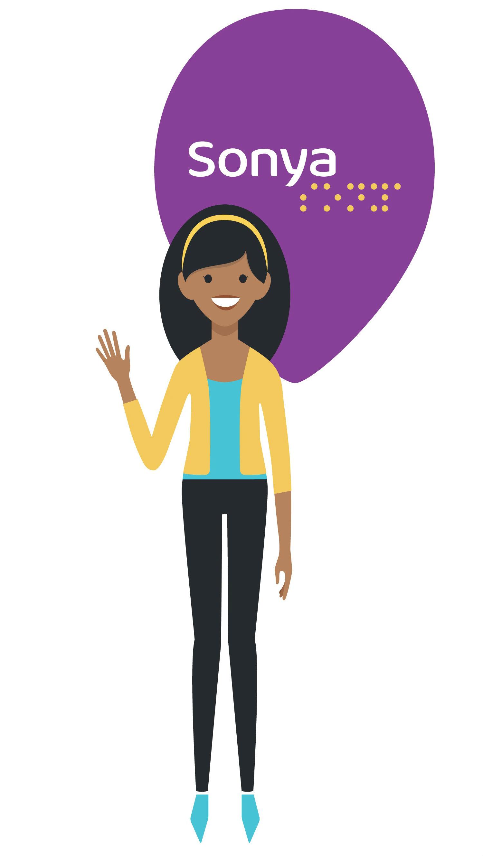 Logo do aplicativo sonya mostra uma mulher ao centro de um pin