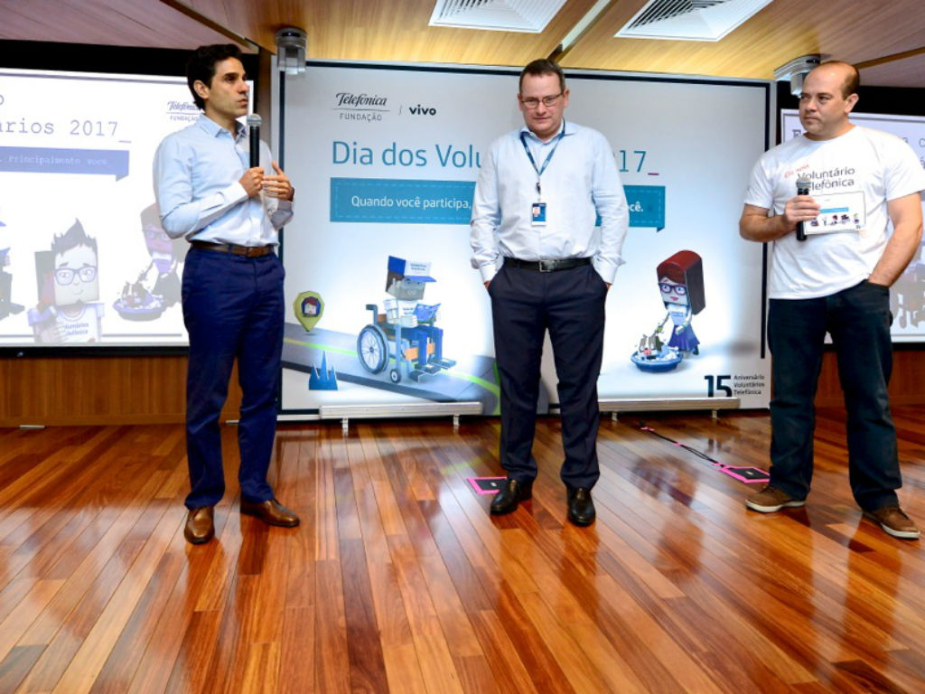 Chief Operating Officer da Vivo, Eduardo Navarro, presidente da Telefônica Brasil e Americo Mattar, diretor presidente da Fundação Telefônica Vivo