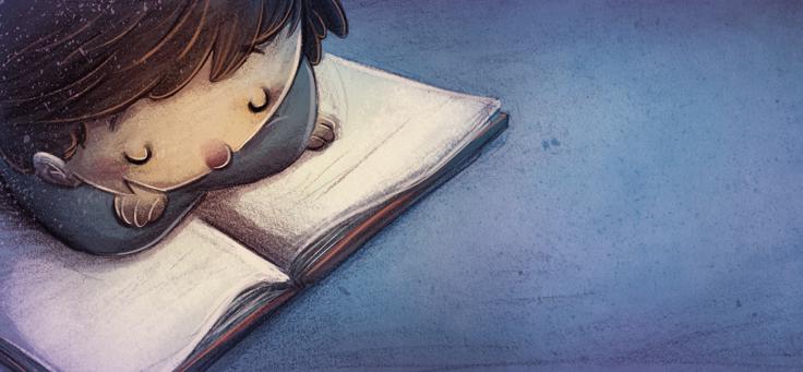 lustração mostra criança debruçada sobre livro, lendo