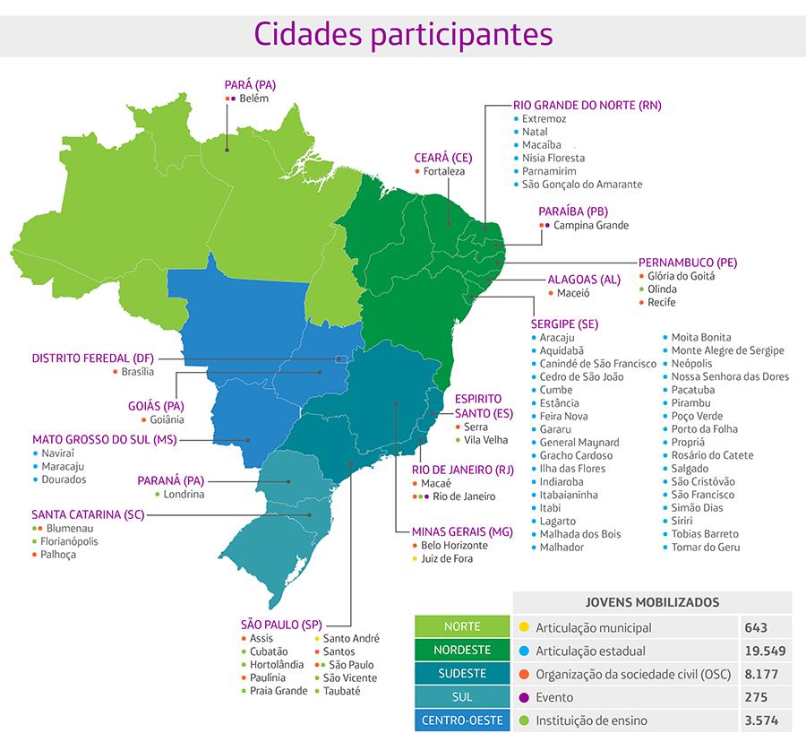 Mapa com todas as cidades que participaram do pense grande se vira pelo brasil