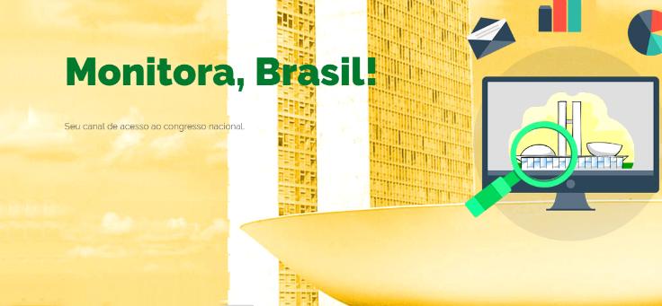 Tela inicial do site Monitora, Brasil! Com Lupa sobre o Congresso Nacional