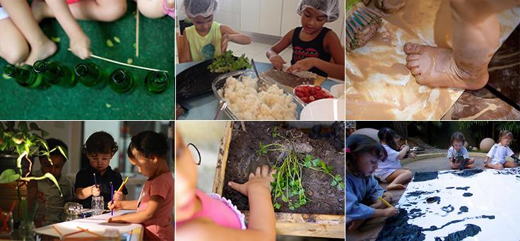 Montagem com fotos de crianças brincando na terra, cozinhando, pintando, para ilustrar reportagem sobre a metodologia Reggio_emilia