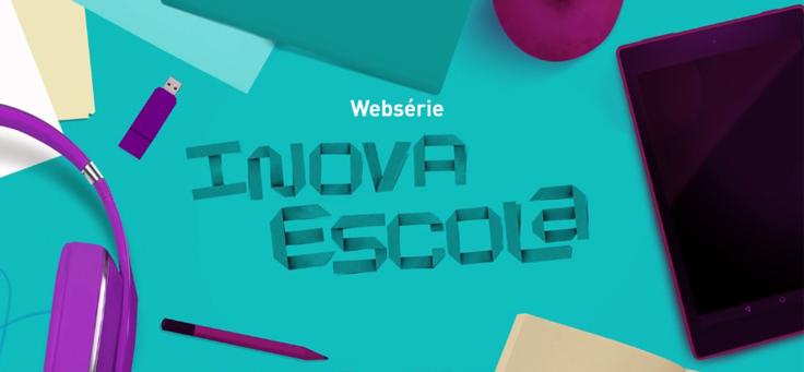 Ilustração representa a websérie inova escola. Na imagem, estão pen drive, fone de ouvido, lápis, papel e pen-drive. Arte tem as cores azul turquesa e púrpura