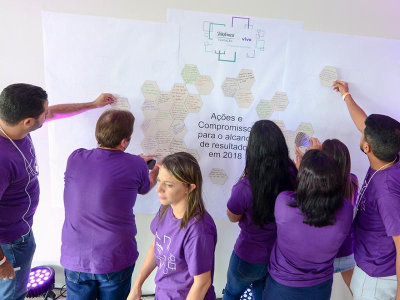 Colaboradores de costas colam adesivos na parede em dinâmica de formação