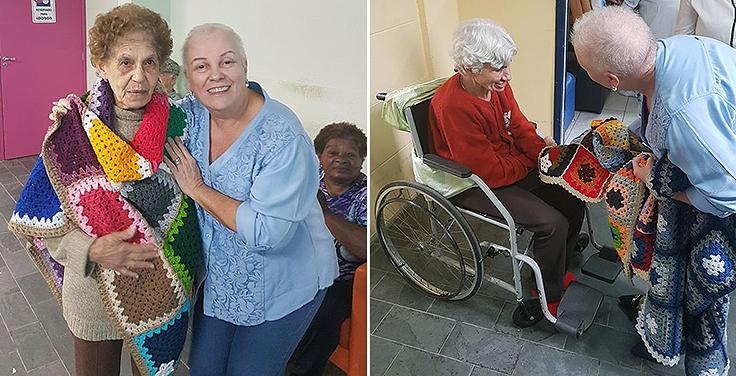 Margarete participa de ação de voluntariado da fundação Telefônica Vivo entregado manta