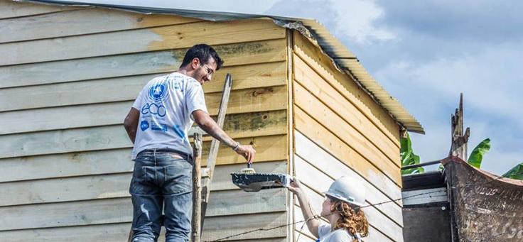 Homem pinta casa apoiado em escada com ajuda de mulher usando capacete, que segura a lata com tinta