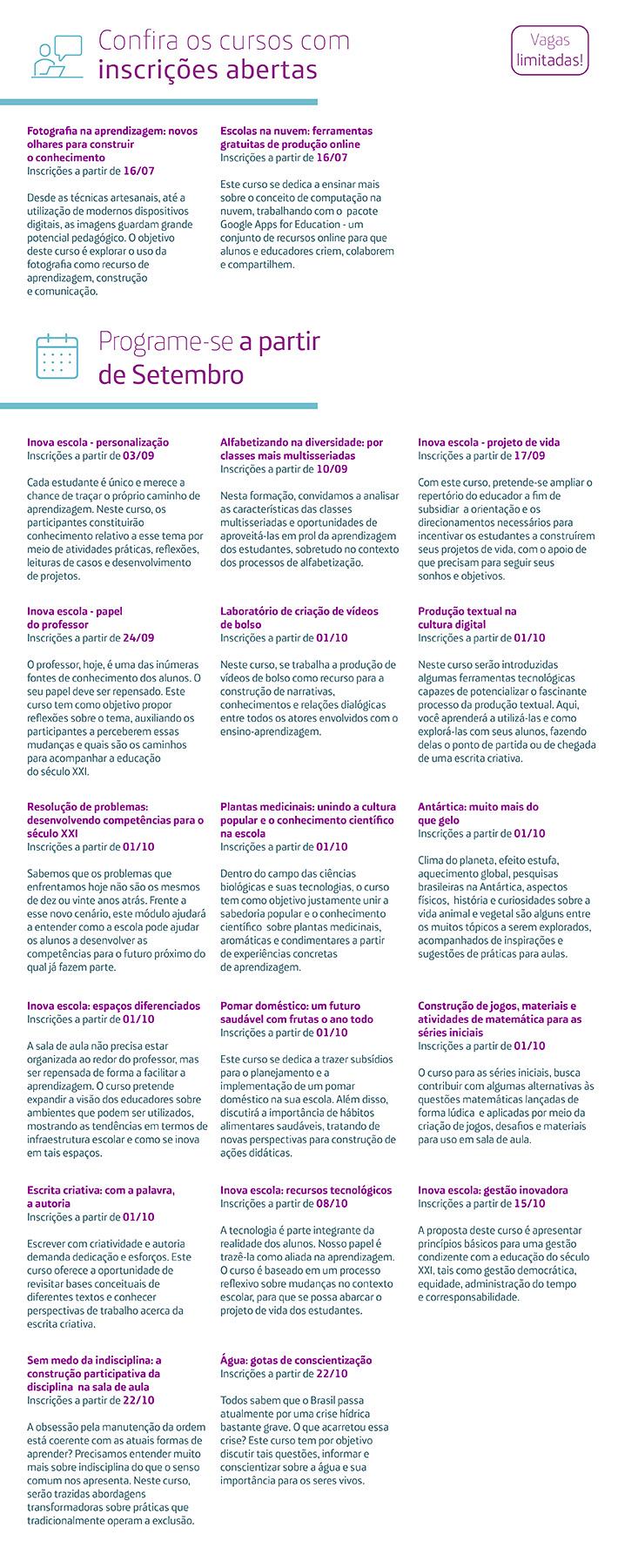 Infográfico mostra todos os cursos que estão com inscrições abertas no Escolas Conectadas, que pode ser acessado pela URL escolasconectadas.org.br
