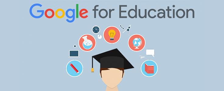 Imagem traz a frase G Suite for Education e uma ilustração de estudante usando beca