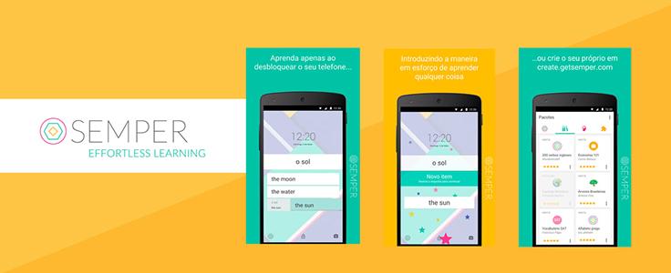 Imagem mostra imagem de 3 celulares e o logo tipo onde se lê Semper