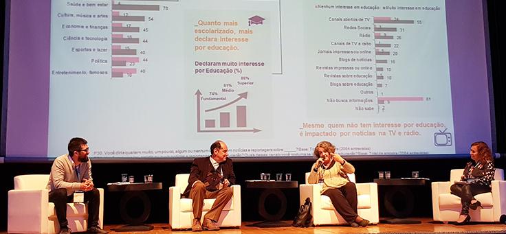 Ana Lucia Lima, economista e fundadora da Rede Conhecimento Social, está falando sentada em poltrona, rodeada por outros três palestrantes no palco do Jeduca