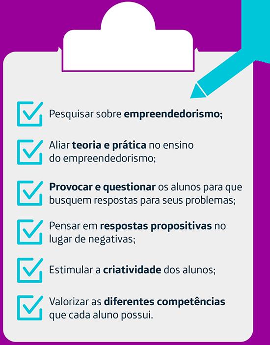 No infográfico é possível ver algumas dicas do que fazer para mediar o desenvolvimento da atitude empreendedora nos alunos.