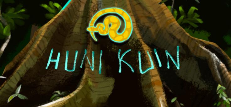 Capa do game brasileiro Huni Kuin mostra o nome do jogo com o tronco de uma árvore ao fundo.