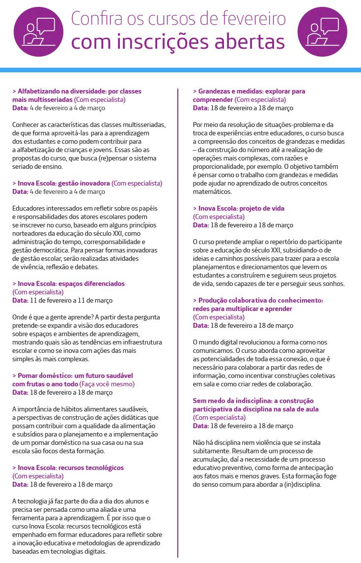 Infográfico com detalhes em púrpura traz informações sobre os cursos gratuitos que abrem inscrições em fevereiro na plataforma Escolas Conectadas.