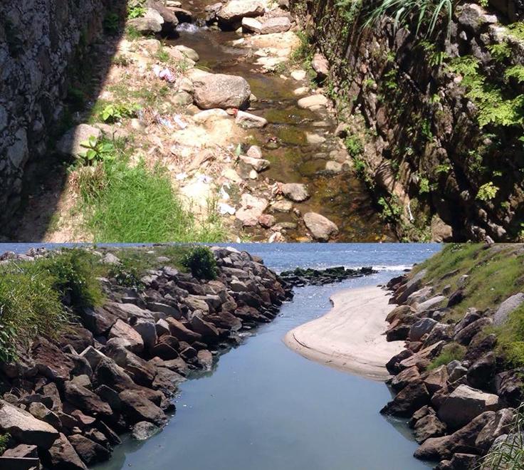 A imagem mostra a vista do rio Carioca