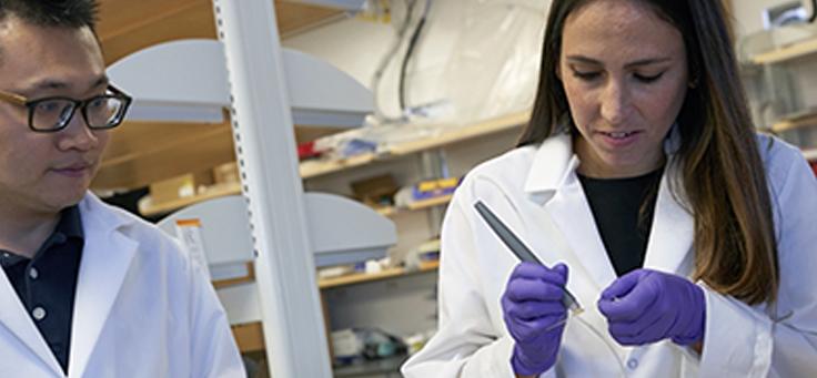Jovem cientista Livia Eberlin está manipulando a MasSpec Pen, uma caneta que diagnostica diversos tipos de tumores.