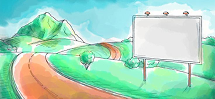 Imagem mostra a curva de uma estrada, com montanhas ao fundo e um outdoor em primeiro plano e faz parte da atividade sobre projeto de vida dentro da metodologia Pense Grande, que trabalha cultura empreendedora.
