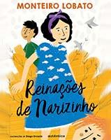 Capa de Reinações de Narizinho, livro do universo infantojuvenil, traz a personagem principal de vestido azul com peixeis brancos desenhados em primeiro plano.