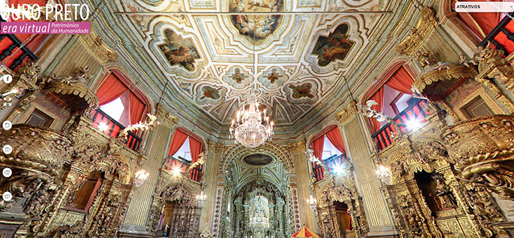 O Era Virtual reúne mais de 38 museus e patrimônios culturais do Brasil, sendo possível visitar virtualmente lugares históricos como Ouro Preto. Na imagem, é possível ver o interior de uma igreja da cidade em Minas Gerais.