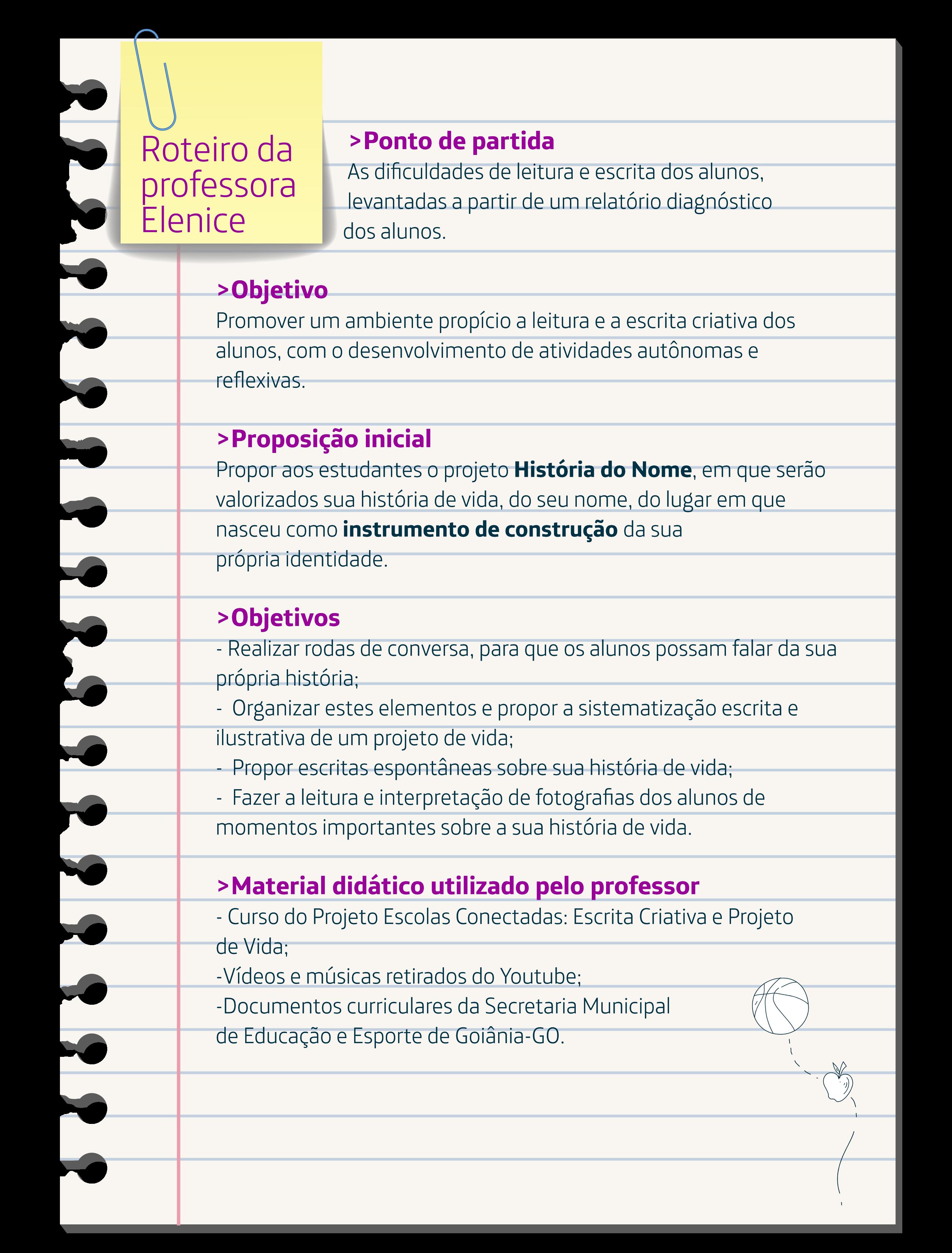 Imagem mostra roteiro de aula detalhado da professora Elenice.