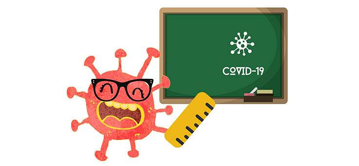"""Ilustração mostra coronavírus como se fosse um professor em frente a uma lousa onde está escrito """"Covid – 19""""."""